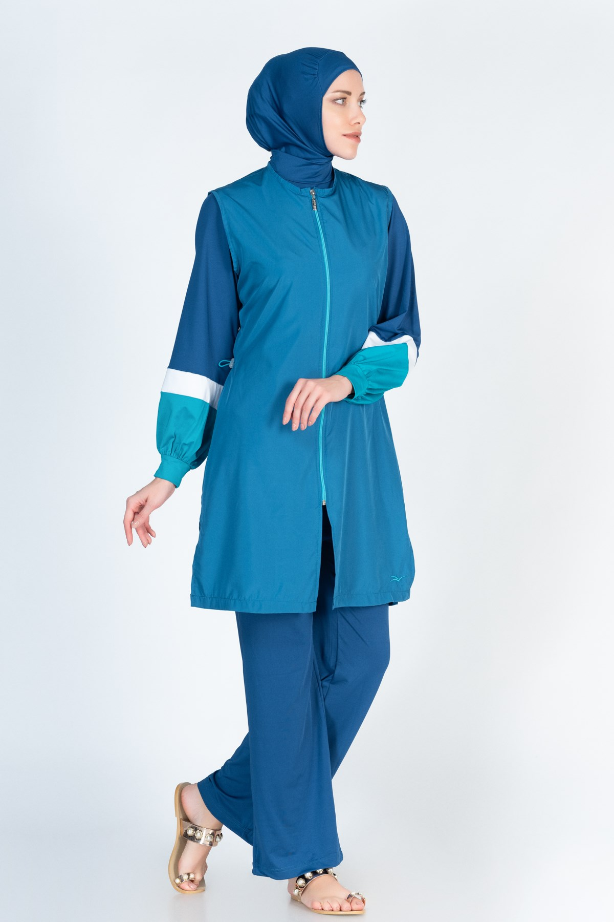 Alfasa 363 Long Coreved Vest Trousers Islamic Burkini Swimsuit