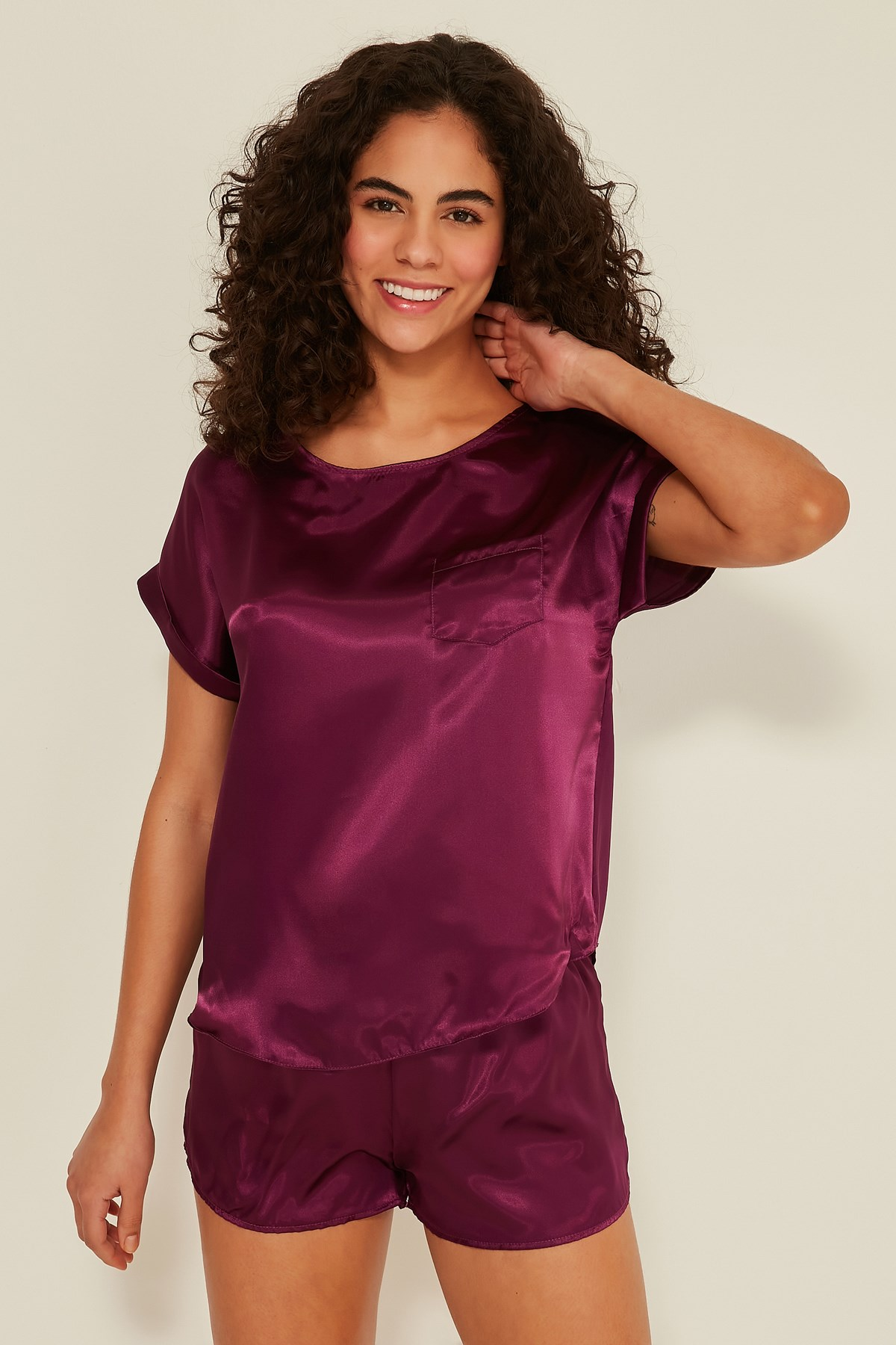 C&City 080 Women Satin Pyjama Set