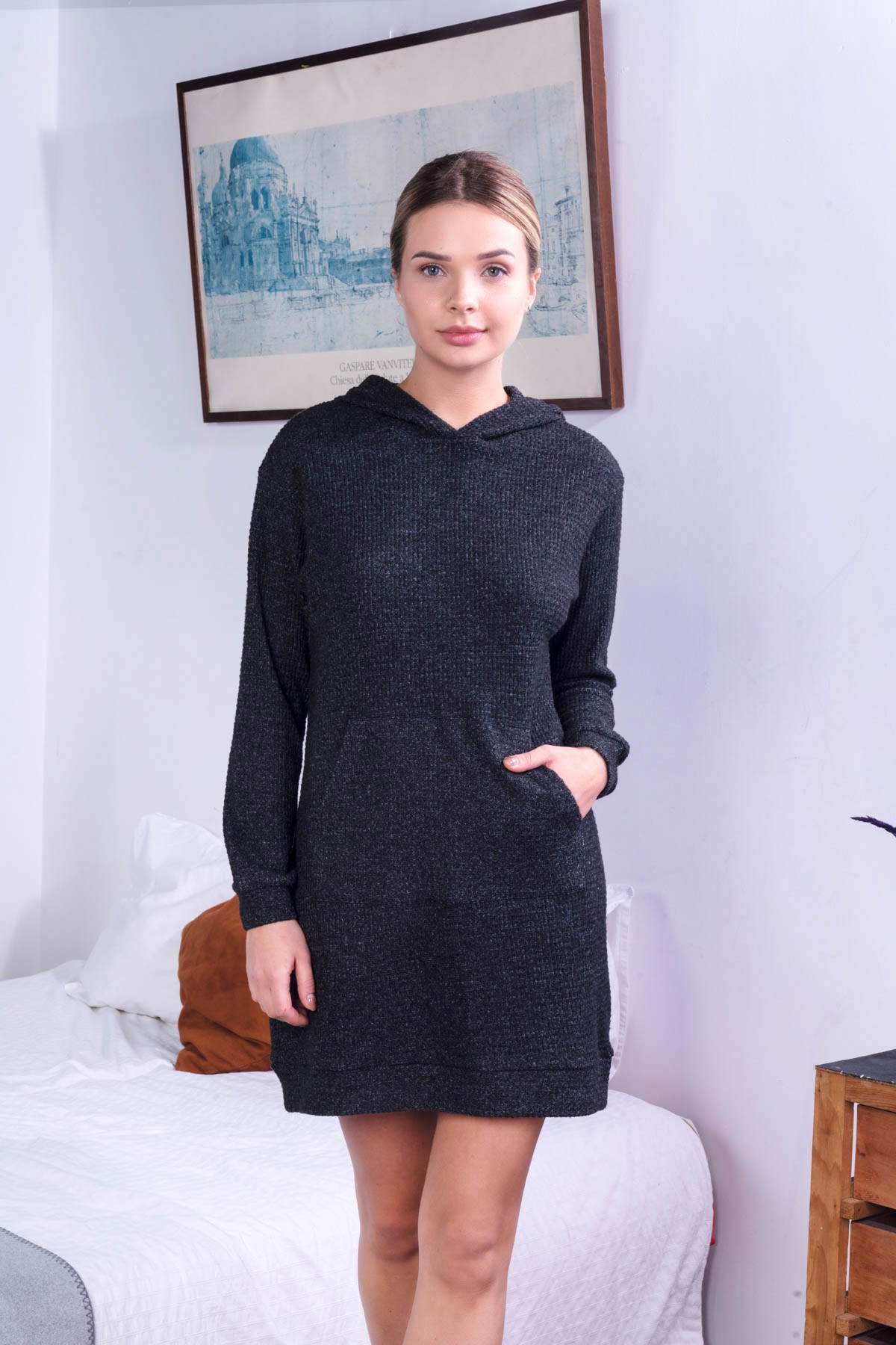 C&City Women Knitted Hooded Sweat Tunic 9056