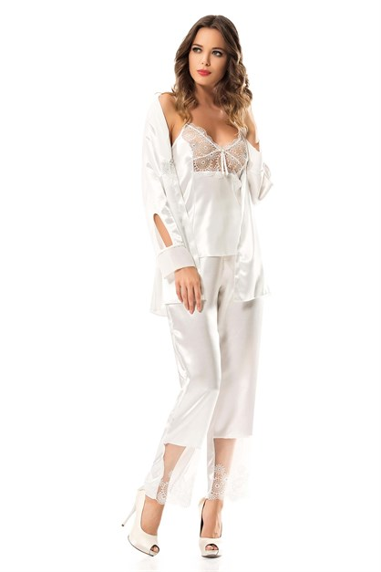 Ahu 7326 Lace Triple Satin Nightgown Set