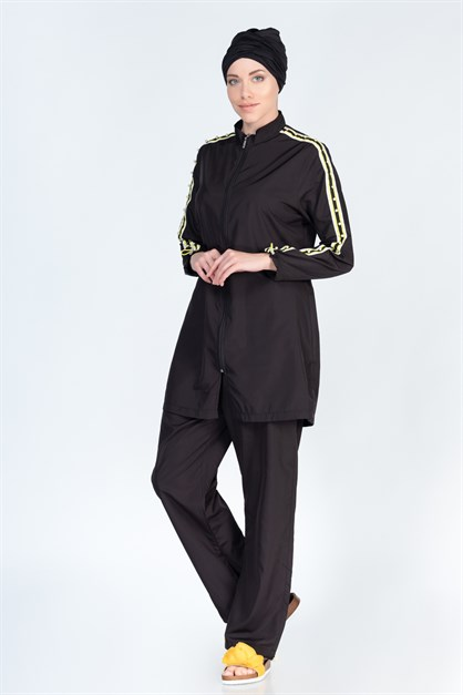 Alfasa 373 Trousers Long Coreved Line Detail Islamic Burkini Swimsuit
