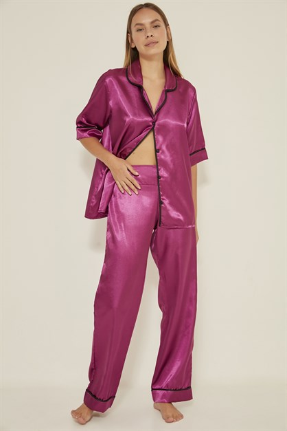 C&City Women Satin Pyjama Set 030