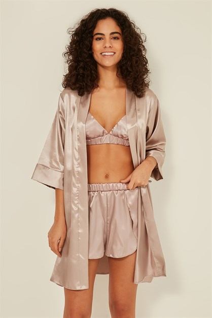 C&City Women Satin Triple Pyjama Set 049