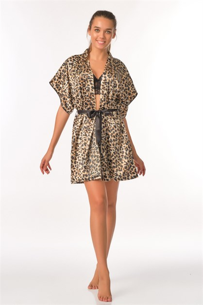 C&City Leopar Women Satin Dressing Gown