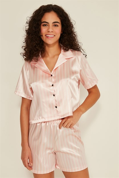 C&City Ruby Bristol Women Satin Crop Pyjama Set